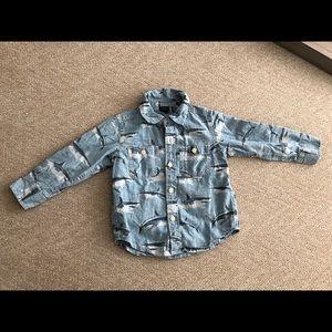 BABY GAP Cotton Button Down Shark Print Shirt